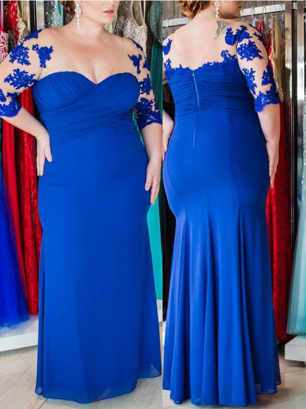 Half Sleeves Sheath Sweetheart Floor-Length Royal Blue Prom Dresses