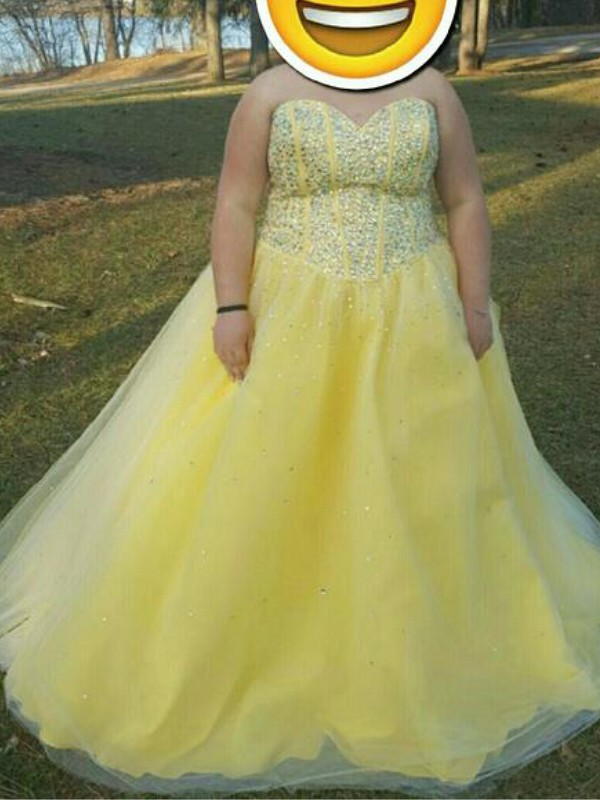 A-Line Sweetheart Floor-Length Yellow Prom Dresses