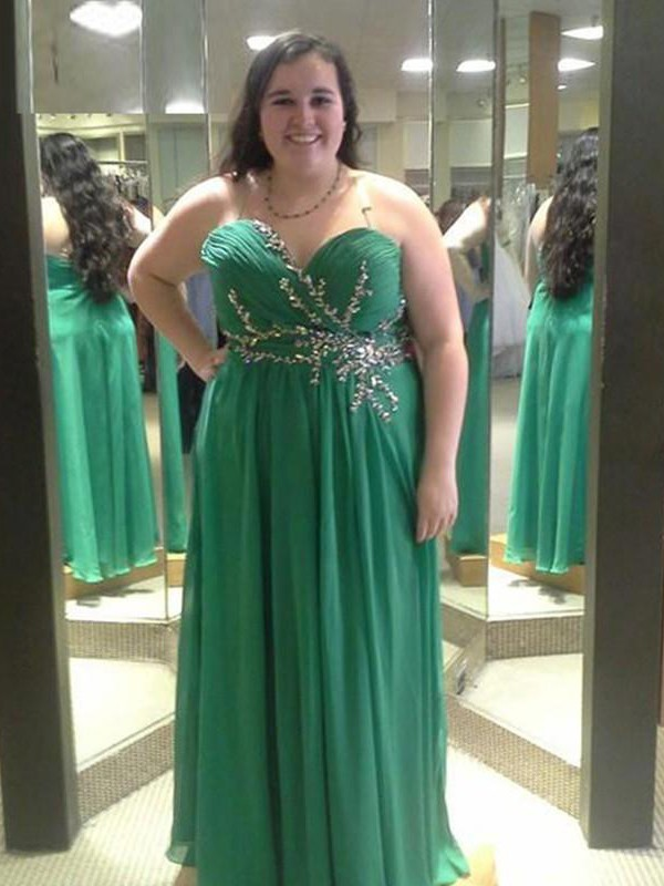 A-Line Sweetheart Floor-Length Green Prom Dresses