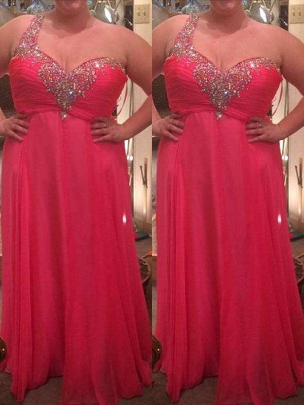 Chiffon A-Line Floor-Length One-Shoulder Watermelon Prom Dresses