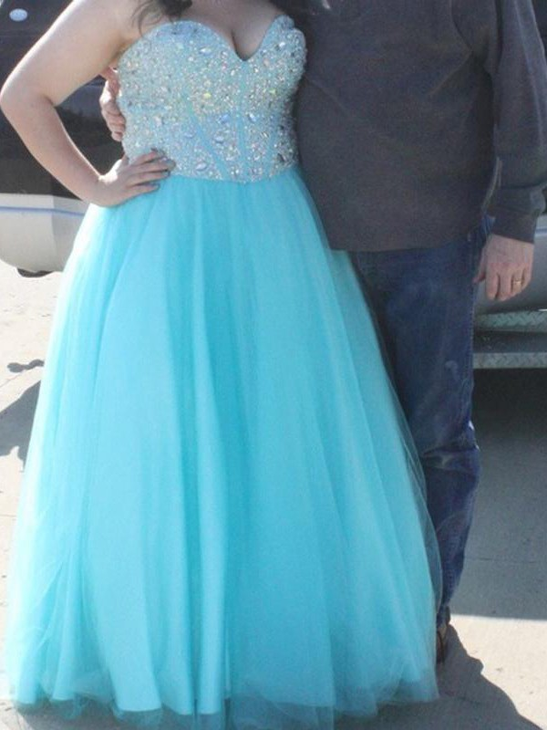 A-Line Sweetheart Floor-Length Light Sky Blue Prom Dresses