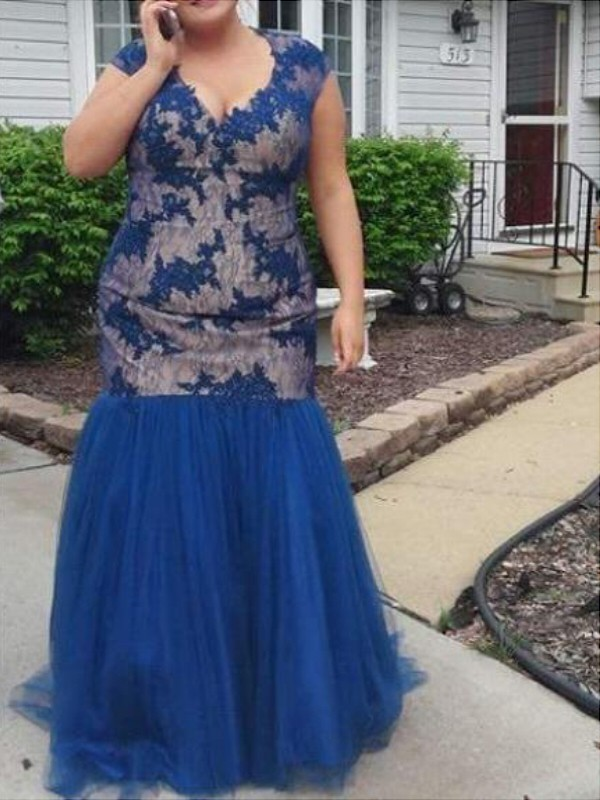 Tulle V-neck Floor-Length Royal Blue Prom Dresses
