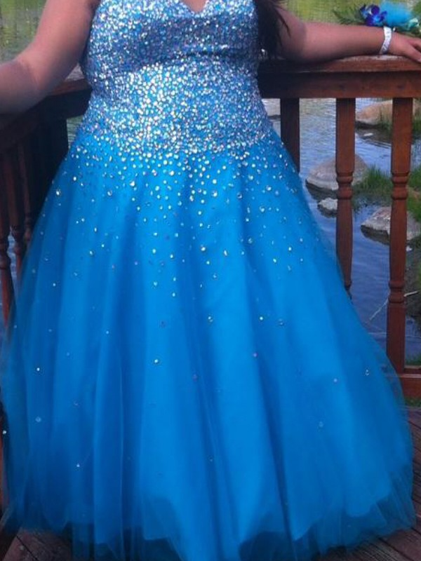 Floor-Length Blue Sweetheart Prom Dresses with Beading
