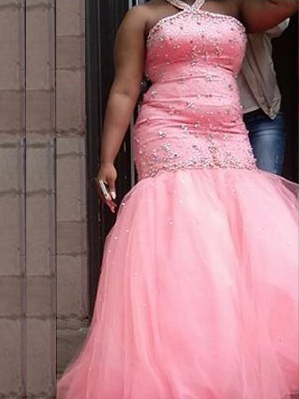 Mermaid Halter Floor-Length Pink Prom Dresses