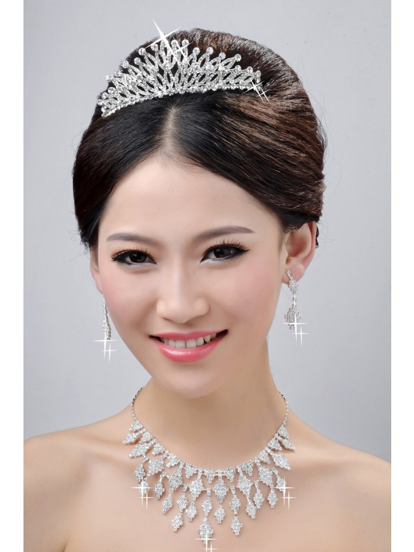 New Style Fashion Alloy Clear Crystals Wedding Party Earrings Set