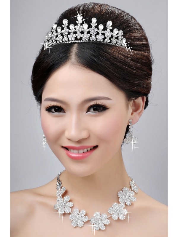 New Style Nice Alloy Clear Crystals Flower Wedding Party Earrings Set