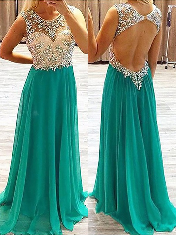 Chiffon Sheer Neck Brush Train Hunter Green Prom Dresses
