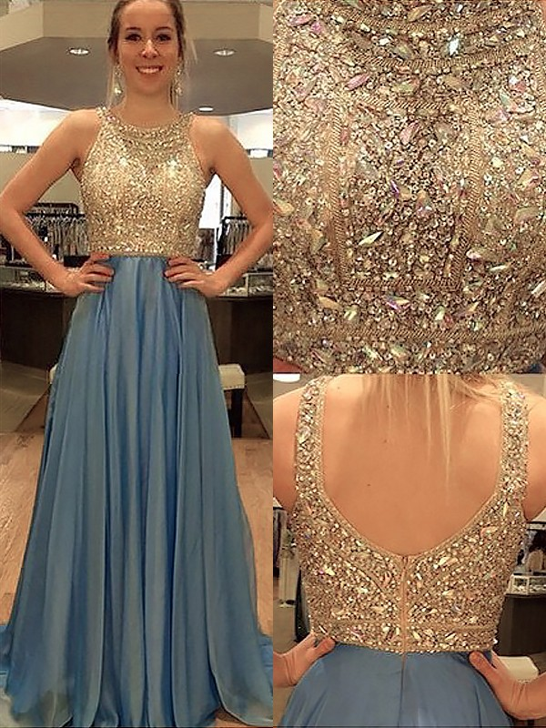 A-Line Scoop Brush Train Blue Prom Dresses with Beading