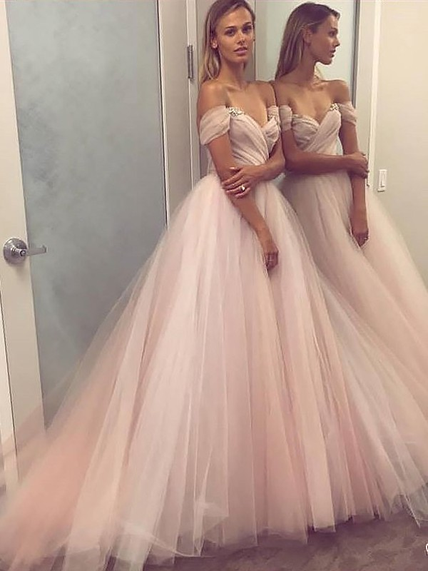 Tulle Off-the-Shoulder Brush Train Pink Prom Dresses