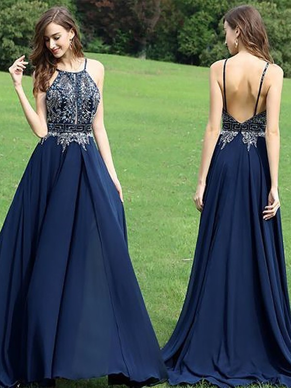 Dark Navy A-Line Halter Floor-Length Prom Dresses with Beading