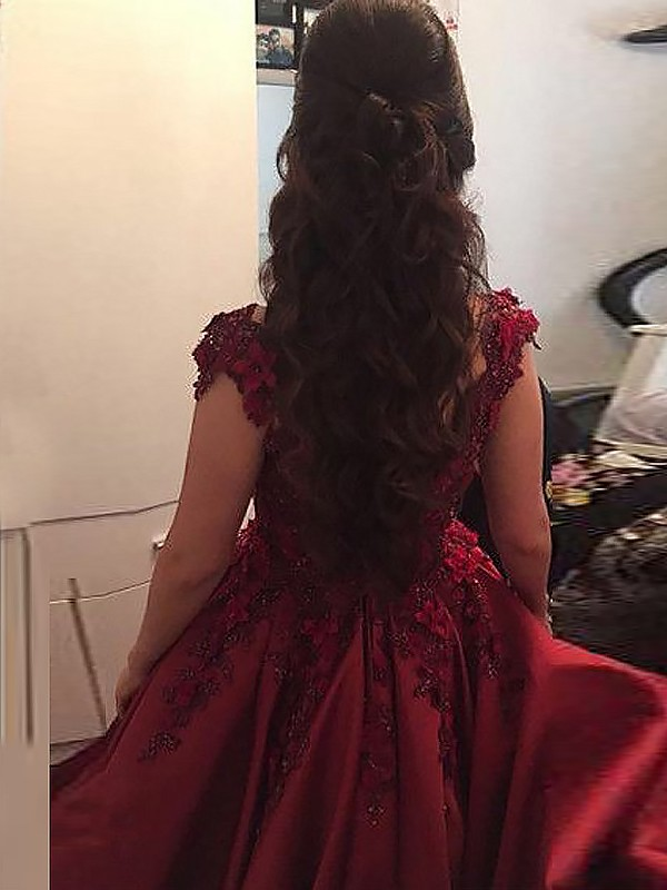 Ball Gown Off-the-Shoulder Floor-Length Burgundy Prom Dresses