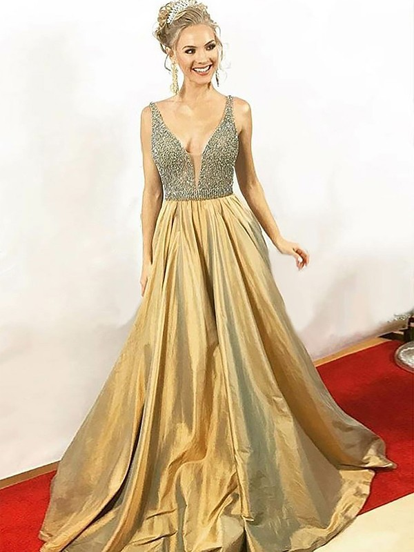 Taffeta A-Line Floor-Length V-neck Gold Prom Dresses