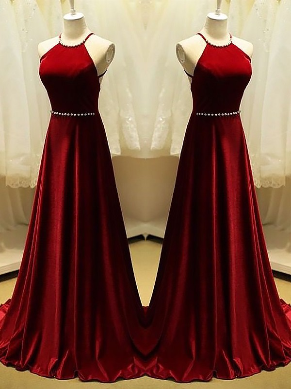 A-Line Satin Halter Brush Train Prom Dresses with Beading