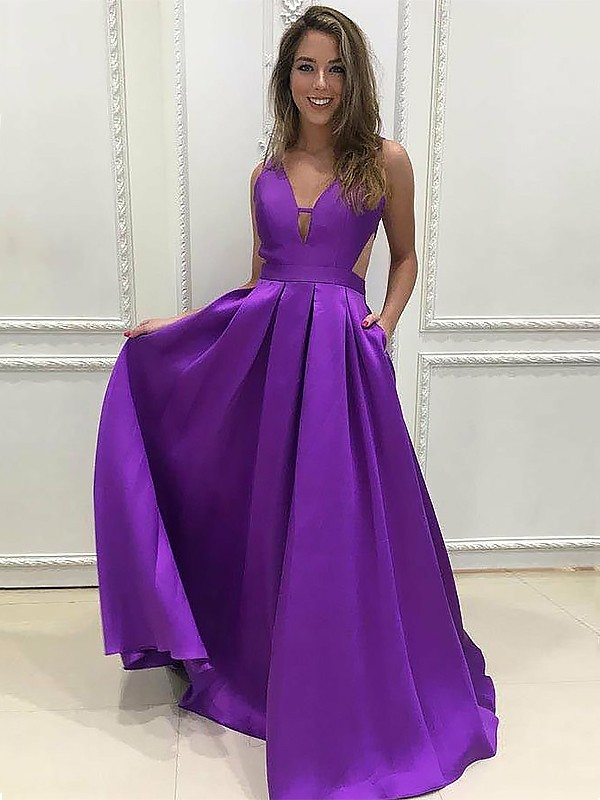 A-Line Satin V-neck Brush Train Regency Prom Dresses