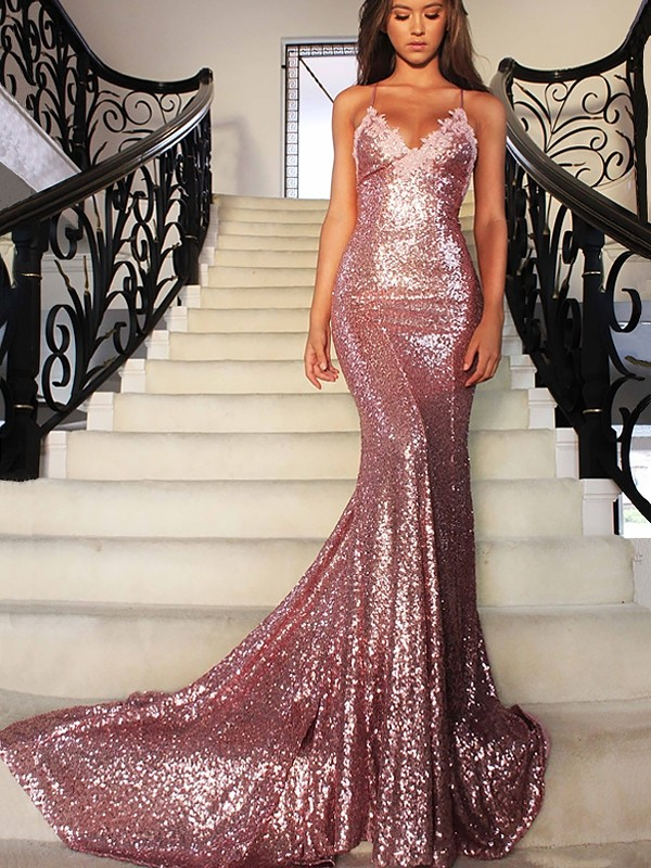 Mermaid Sequins V-neck Brush Train Prom Dresses with Ruffles