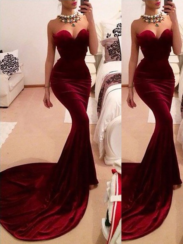 Velvet Sweetheart Brush Train Burgundy Prom Dresses