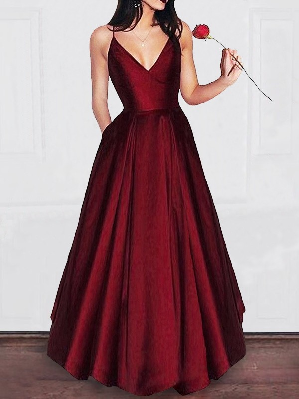 A-Line V-neck Floor-Length Burgundy Prom Dresses