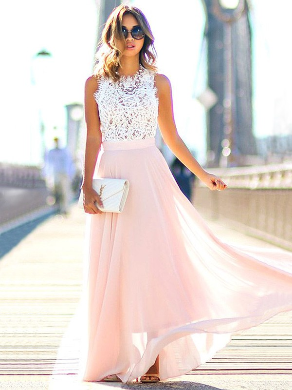 A-Line Jewel Floor-Length Pearl Pink Prom Dresses