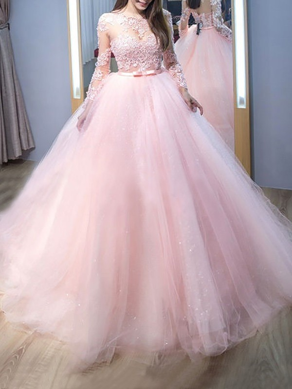Brush Train Pink Long Sleeves Jewel Prom Dresses with Lace