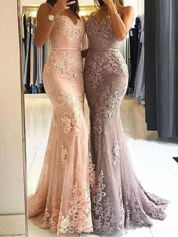 Sheath Spaghetti Straps Brush Train Pink Prom Dresses with Lace