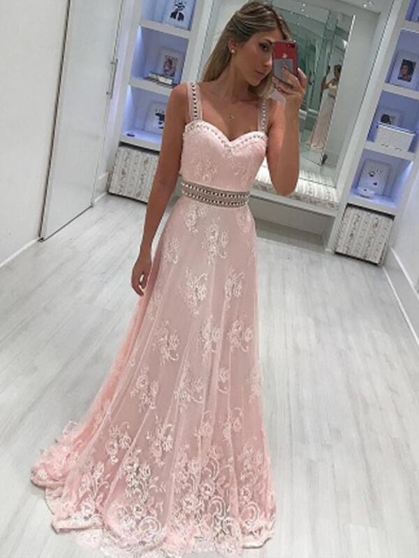 Satin Sweetheart Floor-Length Pink Prom Dresses