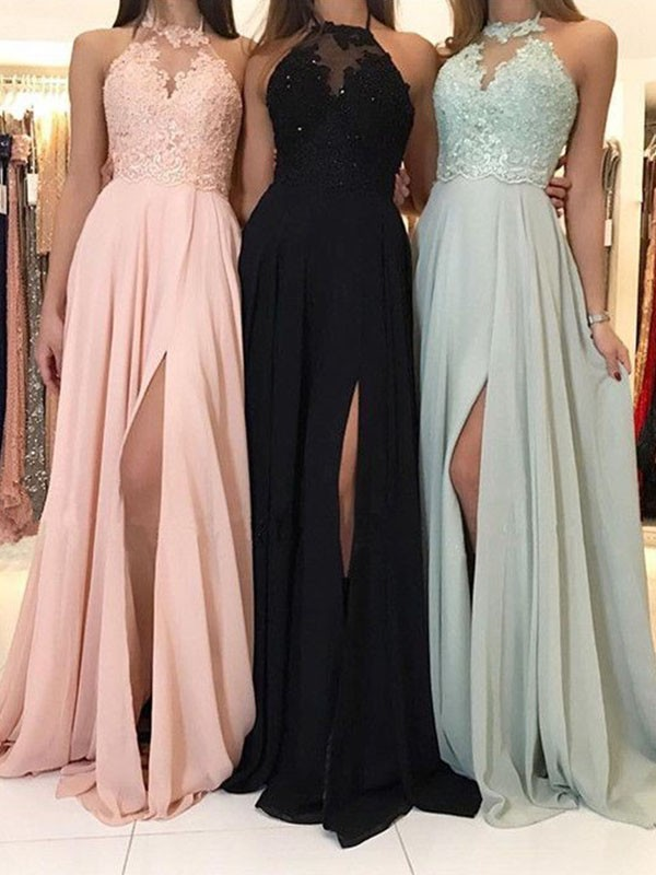 A-Line Halter Brush Train Black Prom Dresses