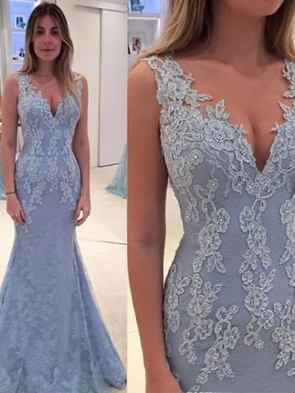 Mermaid V-neck Brush Train Light Sky Blue Prom Dresses with Applique
