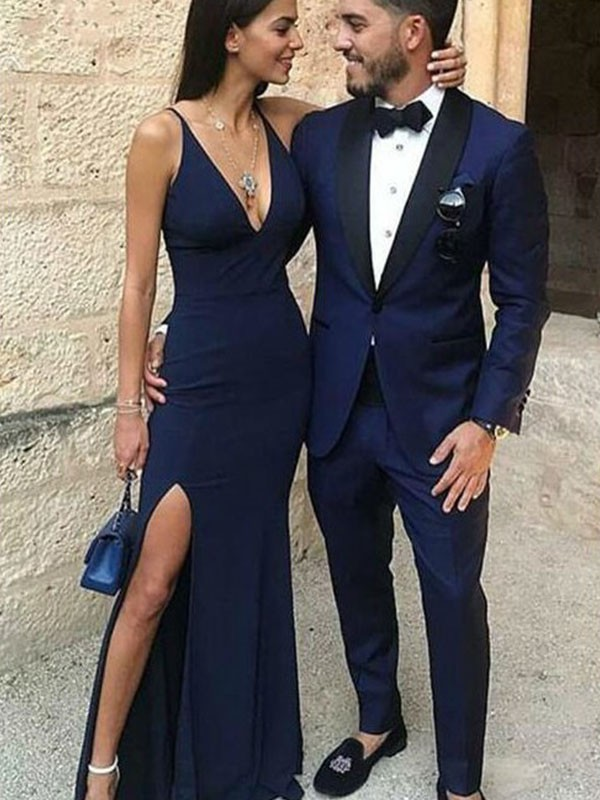 Floor-Length Dark Navy Straps Prom Dresses