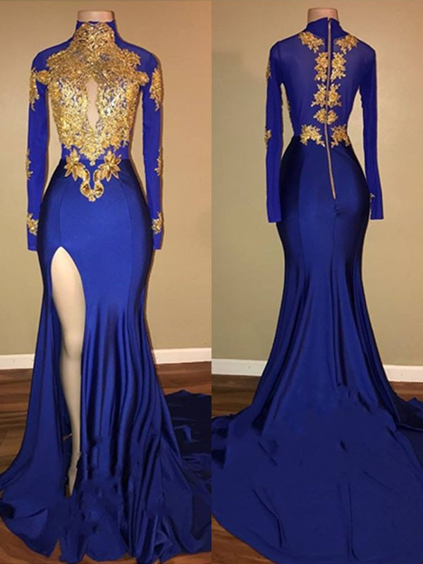 Satin Mermaid Brush Train High Neck Royal Blue Prom Dresses