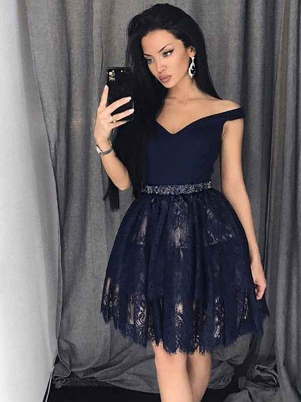 Dark Navy A-Line Off-the-Shoulder Short/Mini Homecoming Dresses with Beading