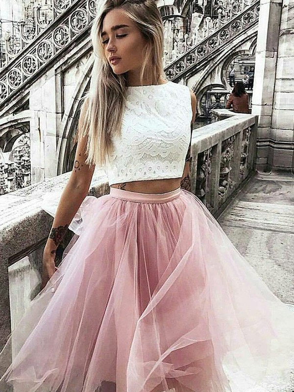 A-Line Tulle Bateau Knee-Length Pink Homecoming Dresses