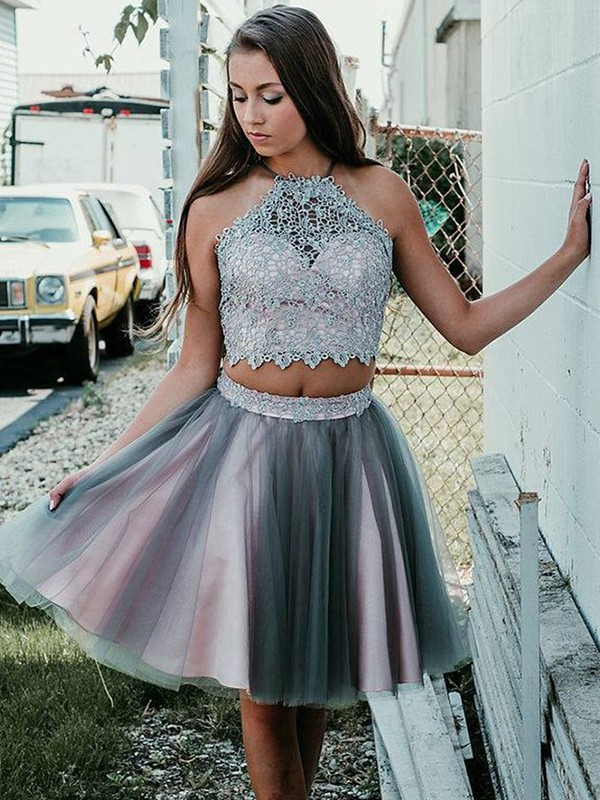 Short Halter A-Line Tulle Silver Homecoming Dresses