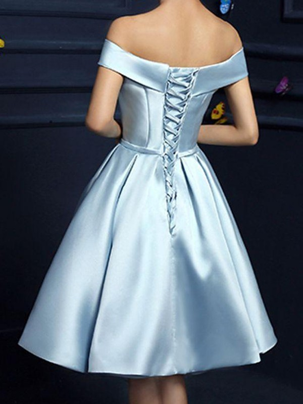 Blue Knee-Length Satin Homecoming Dresses