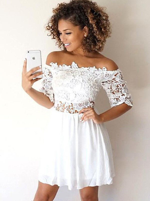 White Short Chiffon 1/2 Sleeves Homecoming Dresses