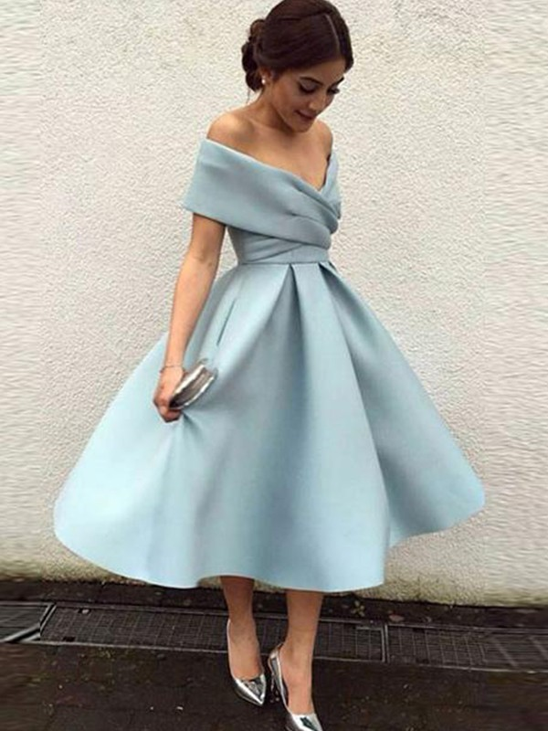 Light Sky Blue Tea-Length Satin Homecoming Dresses