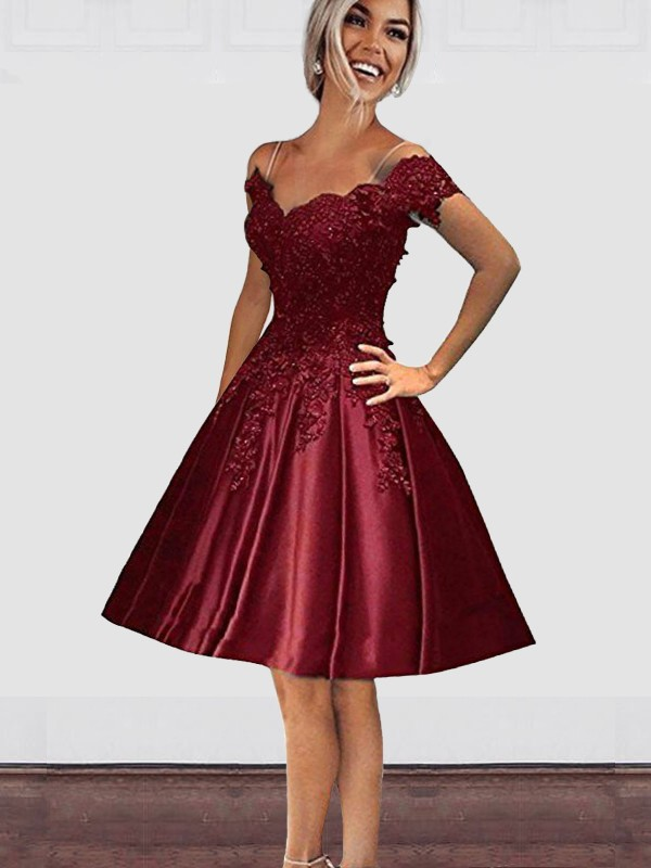 A-Line Off-the-Shoulder Satin Burgundy Homecoming Dresses