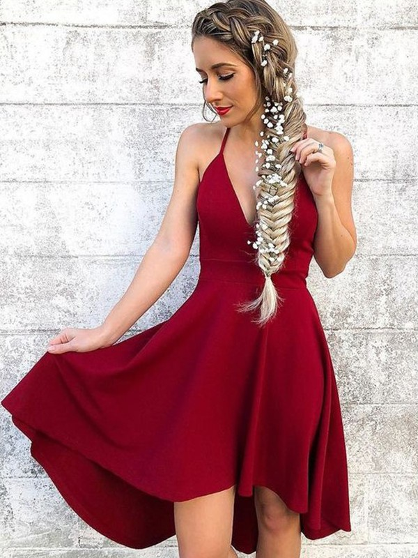A-Line Halter Spandex Red Homecoming Dresses