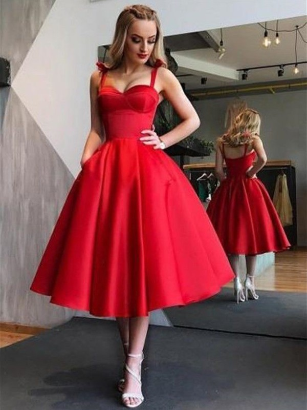 A-Line Straps Satin Red Tea-Length Homecoming Dresses