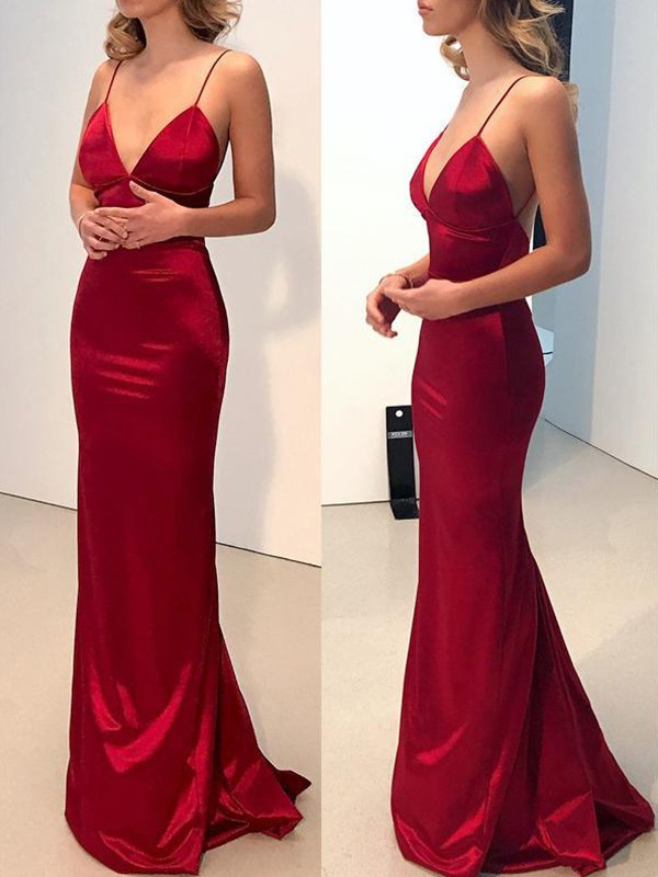 Sheath V-neck Red Brush Train Satin Prom Dresses