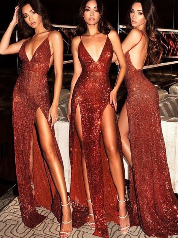 Sheath Sequins Burgundy V-neck Brush Train Prom Dresses