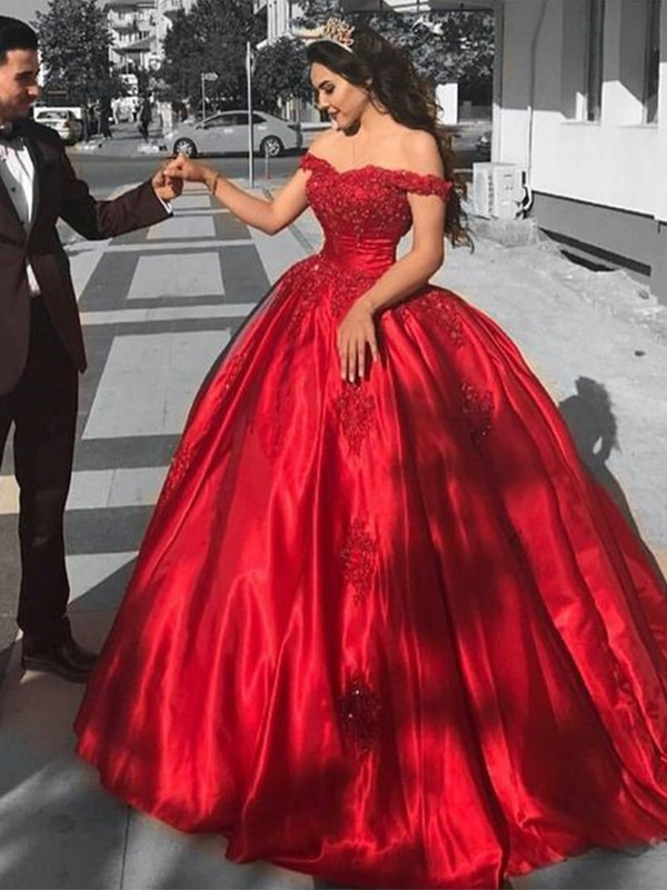 Ball Gown Satin Lace Red Off-the-Shoulder Brush Train Prom Dresses