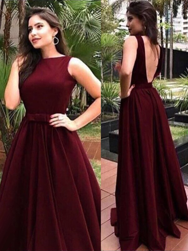 A-Line Bateau Burgundy Floor-Length Prom Dresses