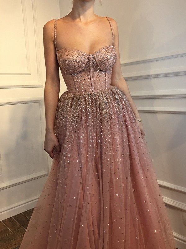 A-Line Pink Floor-Length Rhinestone Tulle Prom Dresses