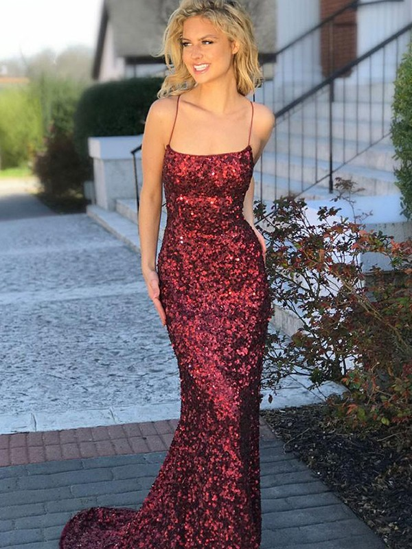 Mermaid Spaghetti Straps Burgundy Sequins Prom Dresses