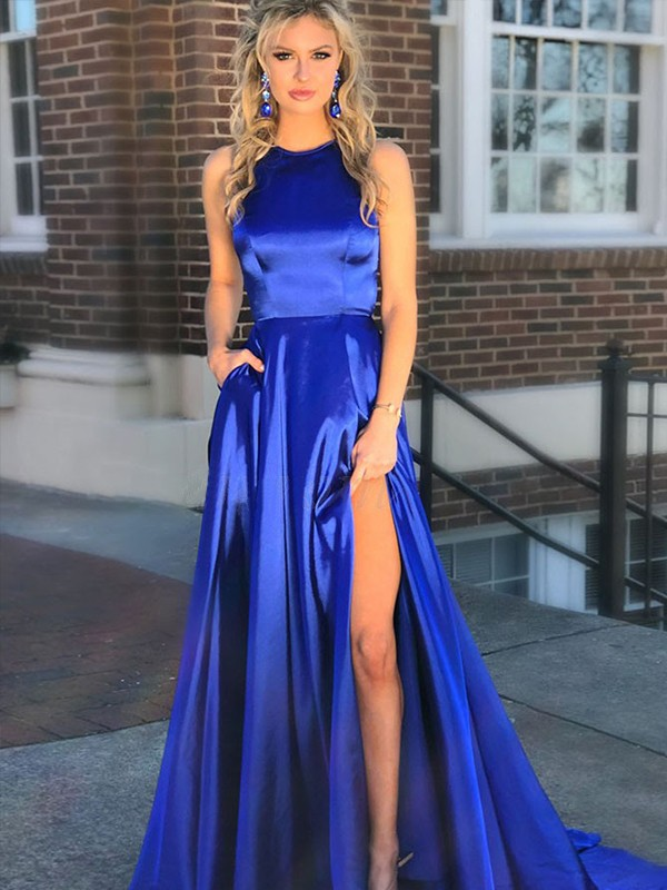 A-Line Royal Blue Brush Train Ruffles Satin Prom Dresses
