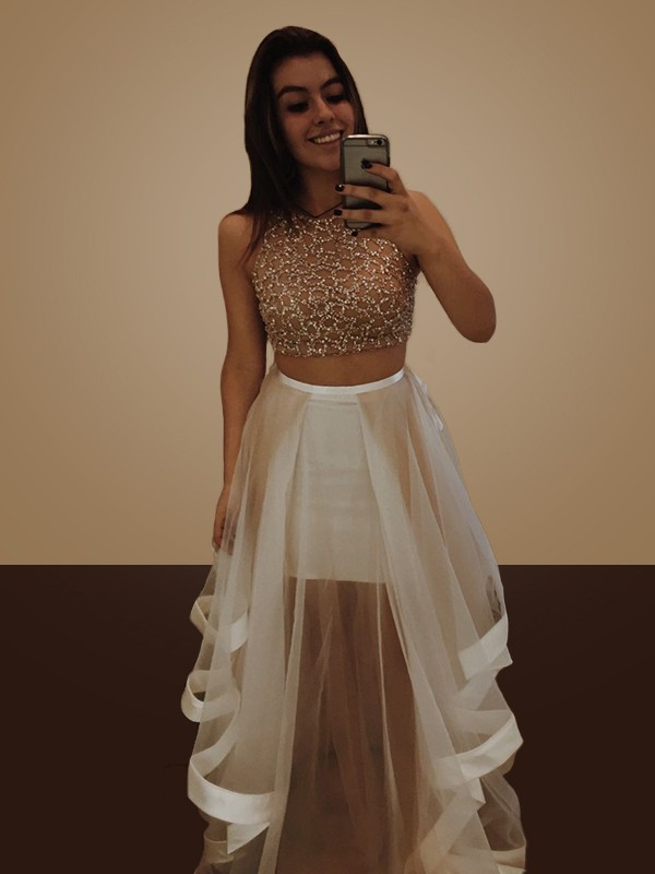 A-Line Halter Long Champagne Organza Two Piece Prom Dresses