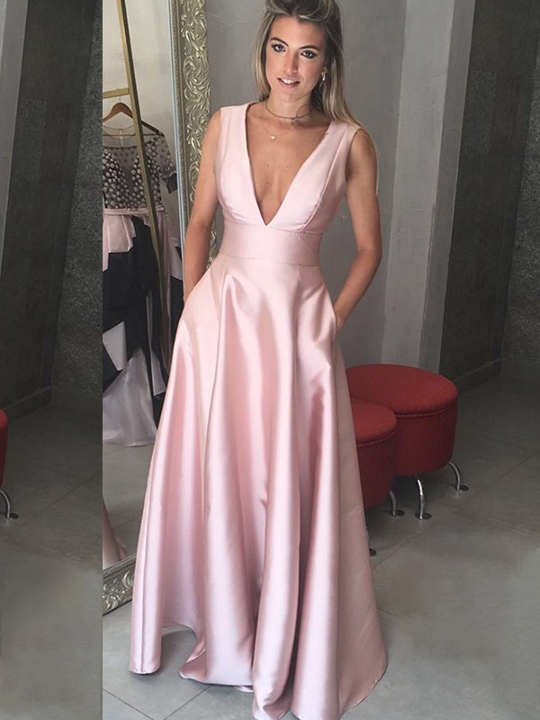 A-Line V-neck Floor-Length Pink Satin Prom Dresses