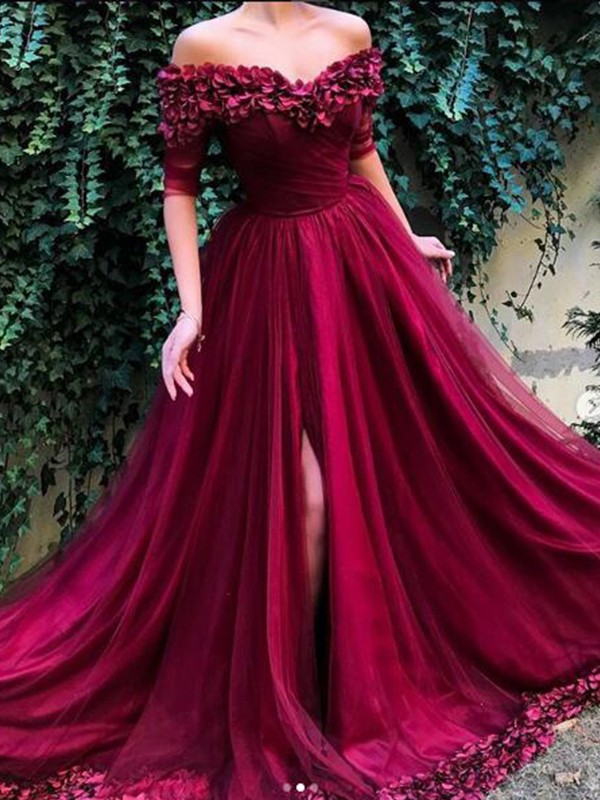 Sheath 1/2 Sleeves Long Burgundy Tulle Prom Dresses