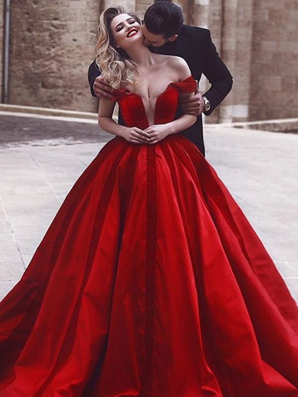 Ball Gown Sleeveless Long Satin Red Prom Dresses