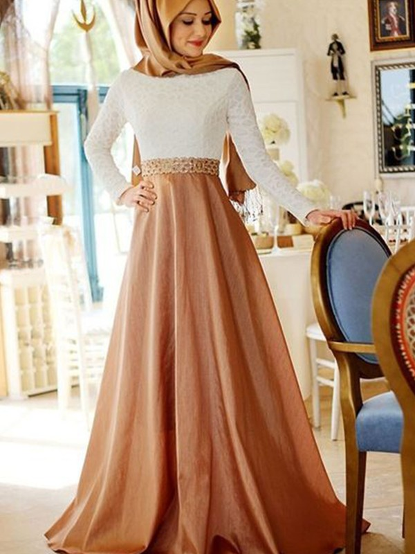Sheath Long Sleeves Long Champagne Satin Muslim Prom Dresses